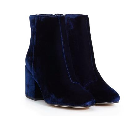 Blue Velvet ankle boots