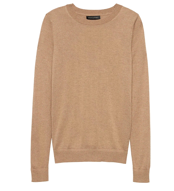 Camel Cashmere crew-neck sweater