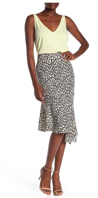 A-symetrical snake skin print skirt