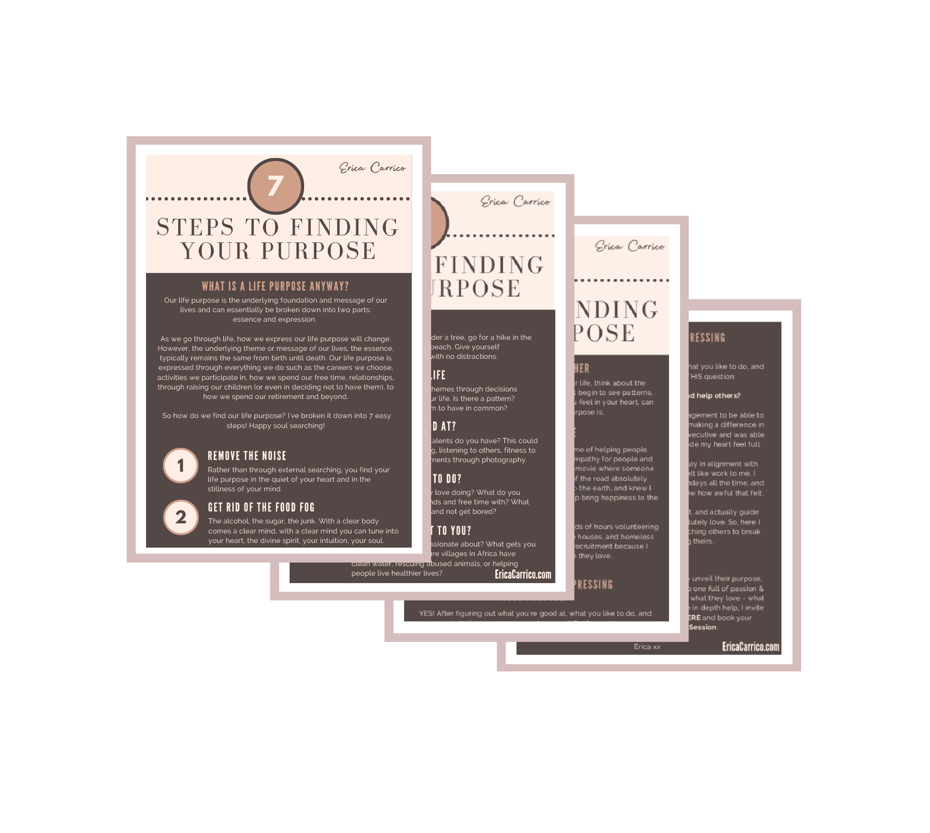 FREE 7 Steps to Finding Your Purpose Guide - If you're struggling to discover your life purpose,here are 7 easy steps for you to follow!