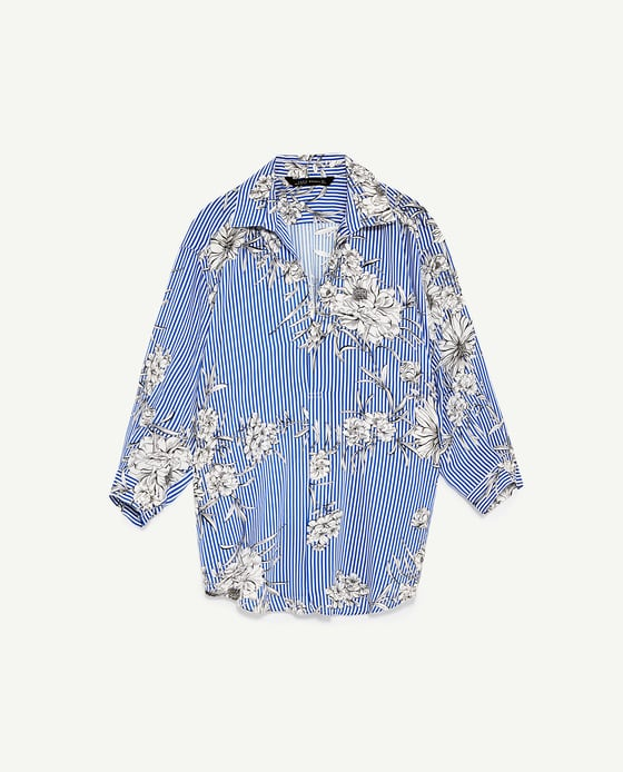 Zara Printed Blouse with Collar