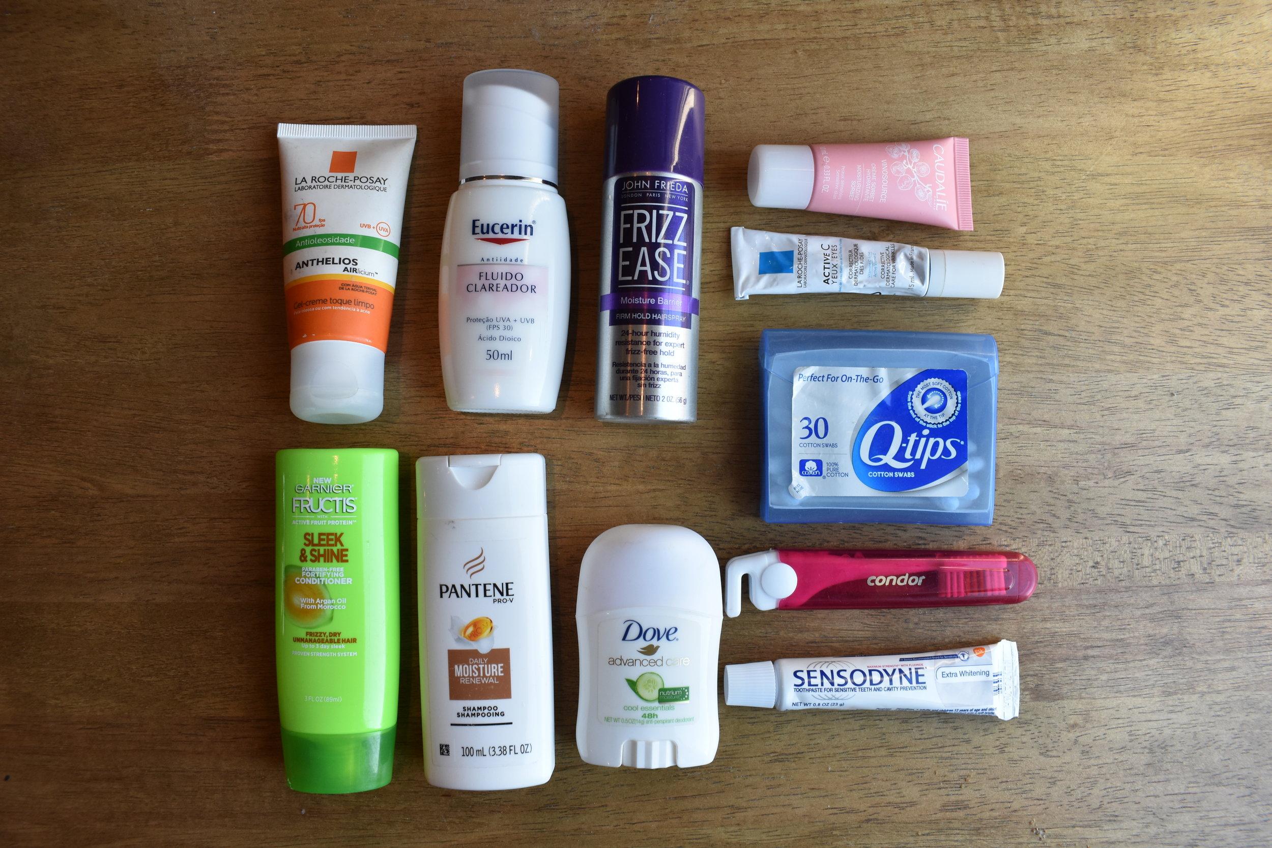Produtos de higiêne permitidos na bagagem de mão.