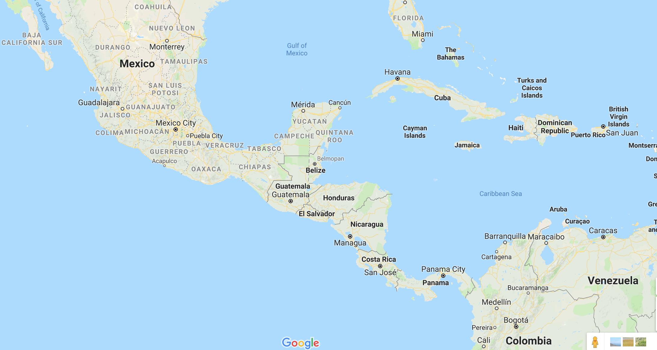 Mapa localizando Belize na América Central