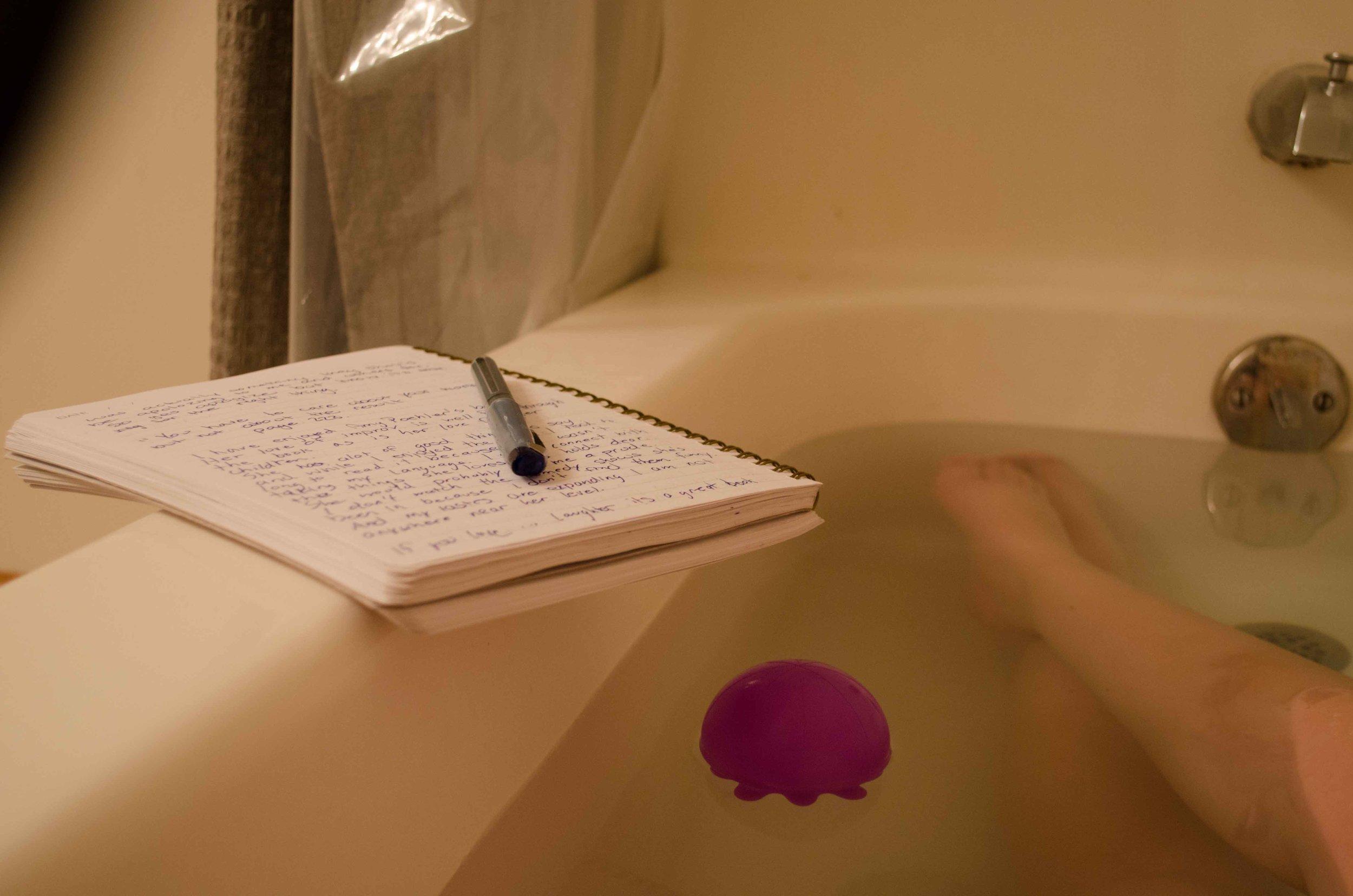 Writing in the Bath Tub