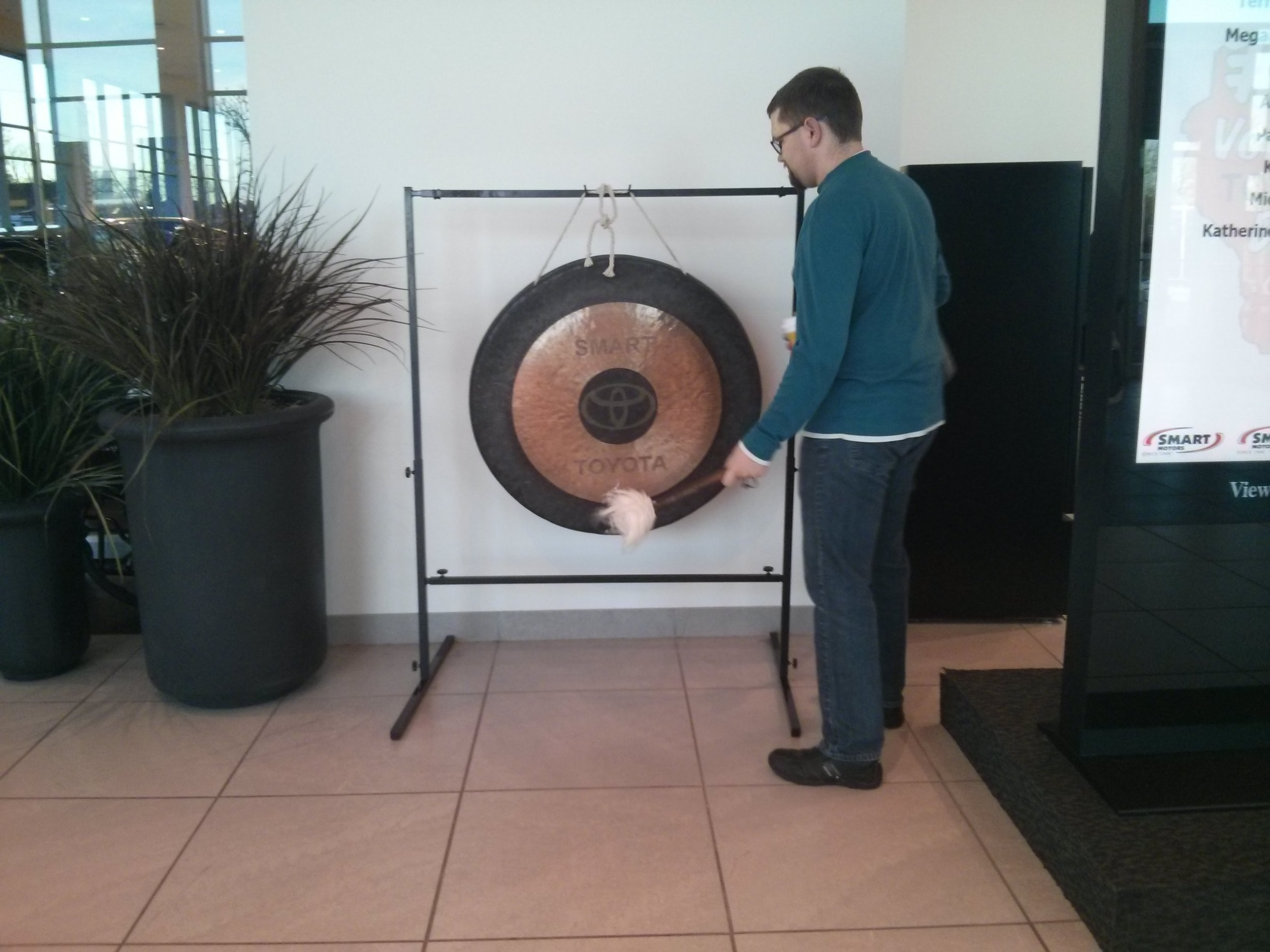 Kevin Hitting The Gong
