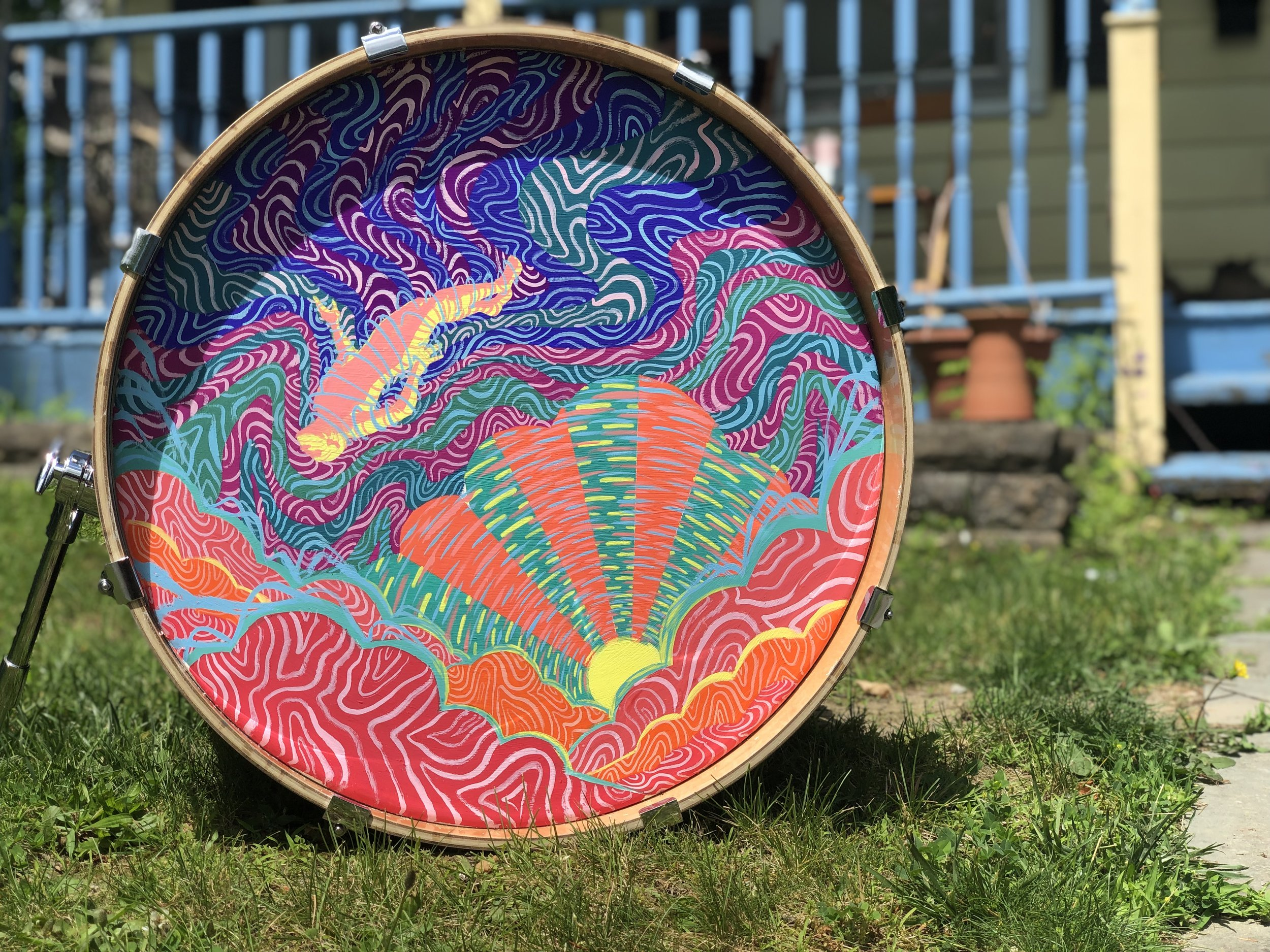 Kitch (2019), Gouache on a Drum Kit