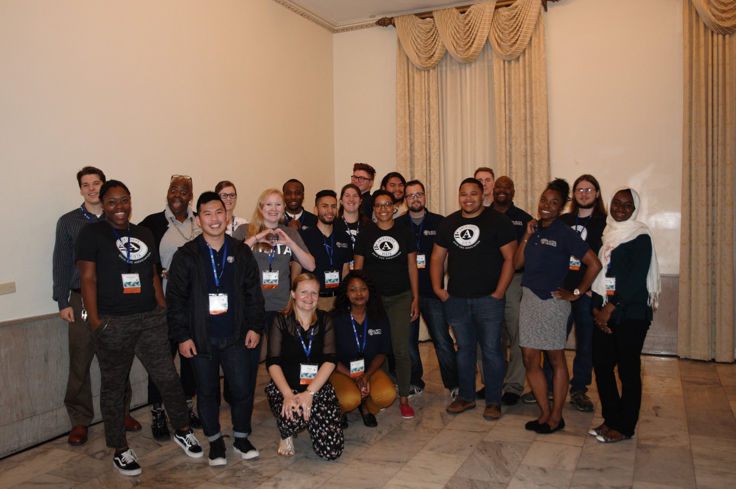 AmeriCorps VISTAs gather at the 2018 Ohio CDC Association conference.