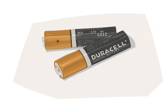 Two dead batteries from a wireless mouse that wants to be recycled but just haven't been yet.