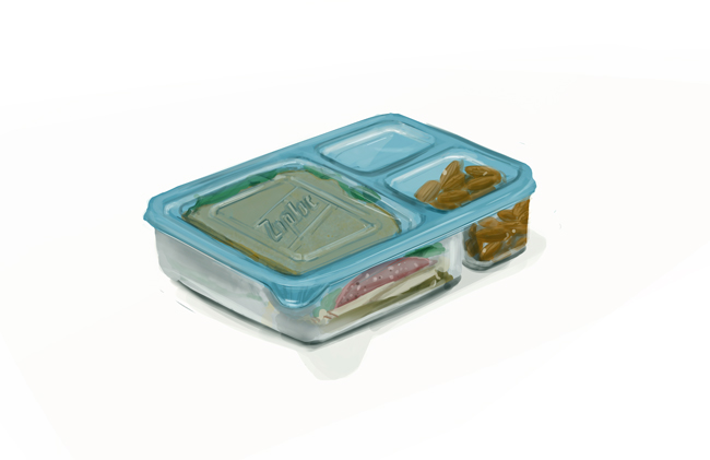 Sandwiches in zip-lock plastic containers look depressingly trapped.