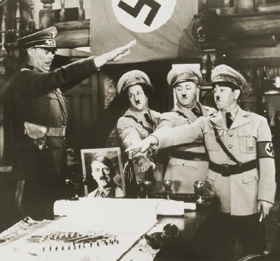 """The Three Stooges in """"You Nazty Spy,"""" released in 1940."""