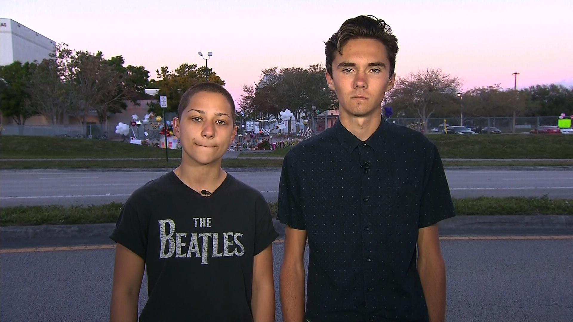 Emma Gonzalez and David Hogg, survivors of the shooting at Marjory Stonemason Douglas High School,