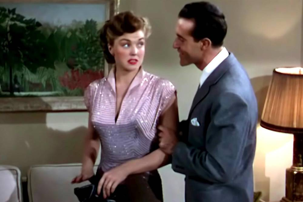 "Esther Williams and Ricardo Montalbán perform the holiday date-rape anthem, ""Baby, It's Cold Outside"" in MGM's  Neptune's Daughter.  While it is hard to believe, it was widely seen as acceptable in 1949."