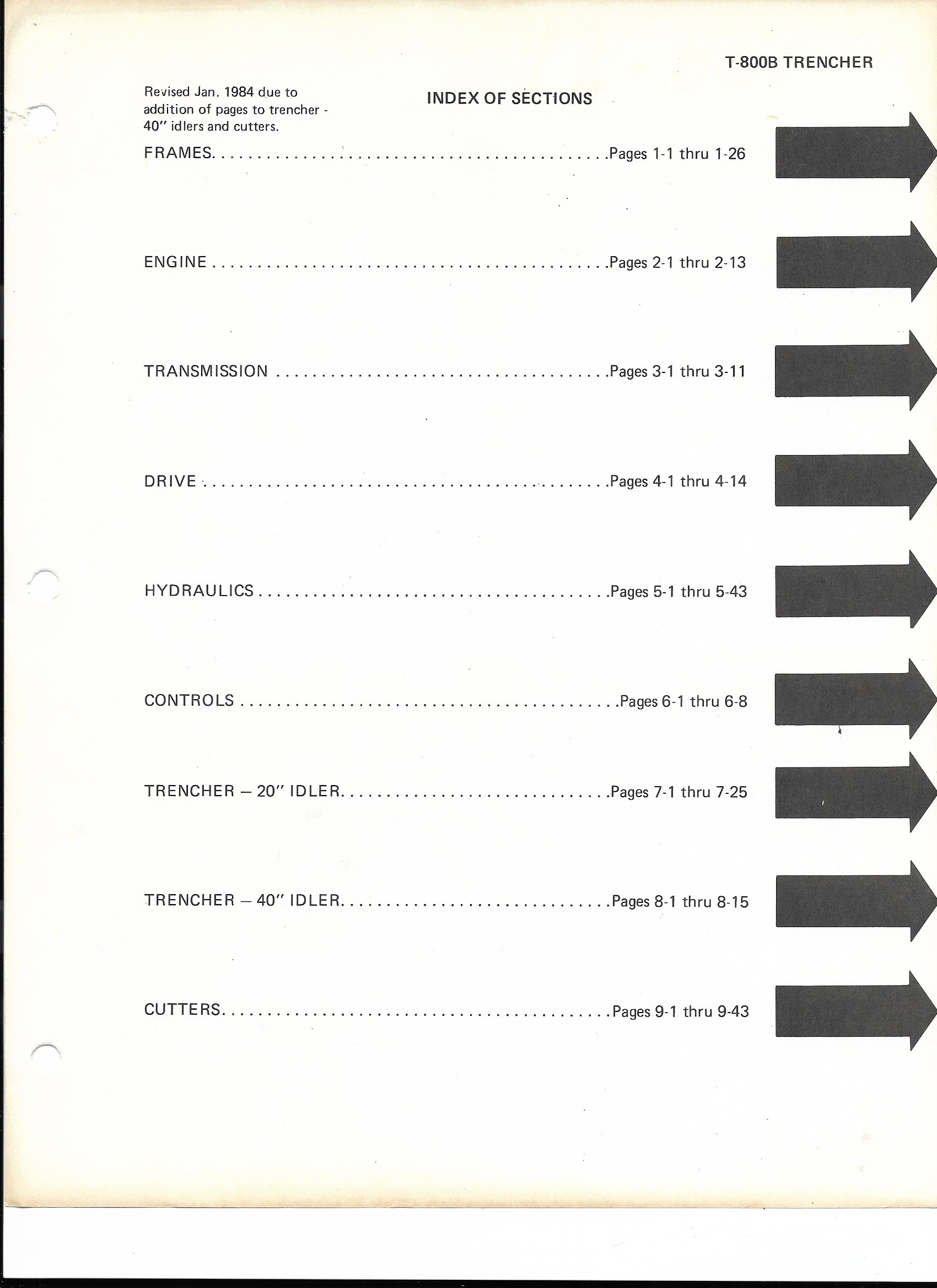 Vermeer T-800 Trencher Parts Lists Manual Operation - Index Page