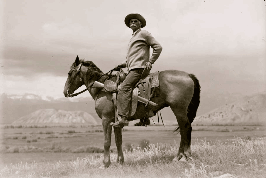 Stephen Leek originally homesteaded the land that is now Lockhart Cattle Company before he sold it to our great grandfather, Bruce Porter. Leek was an avid photographer who took this selfie on the hill overlooking what is now the ranch headquarters.