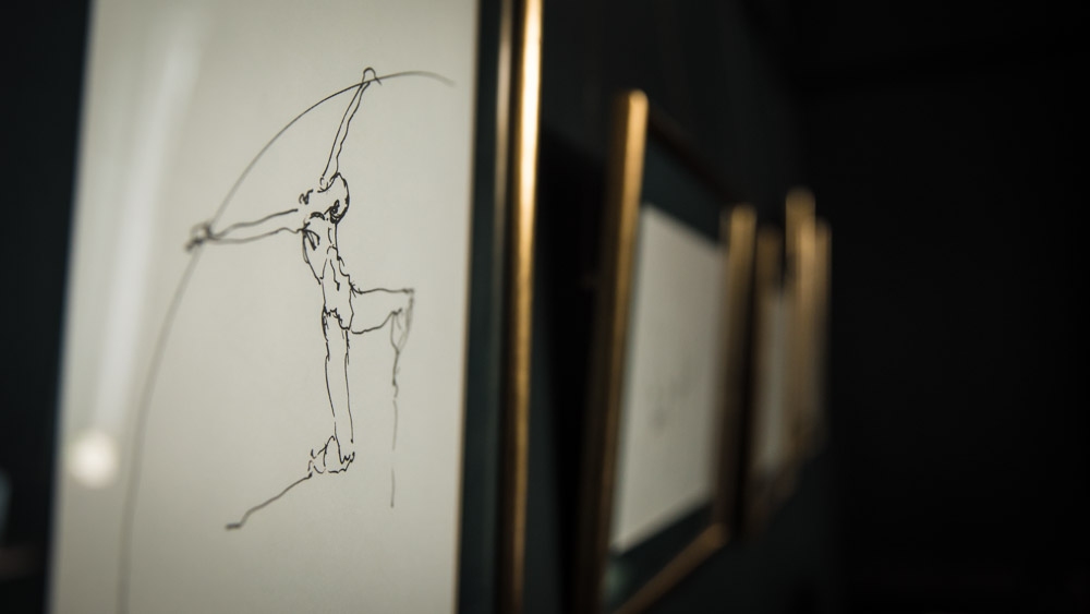 Croquis Nicolas Lavarenne Art Golf frame dark green walls