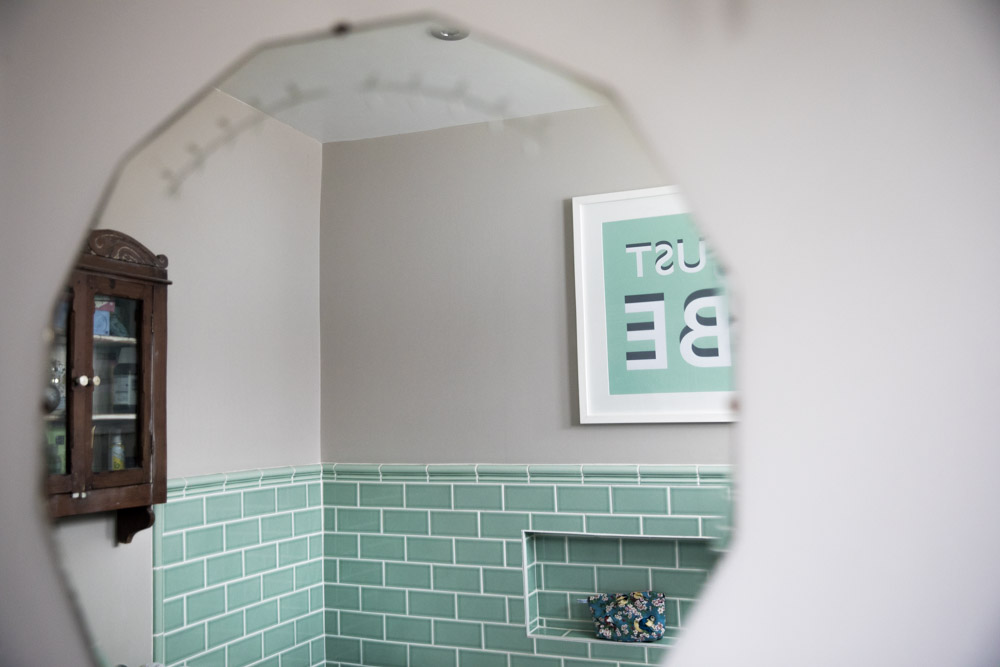 Mint Green Crackled glazed tiles Just Be typography