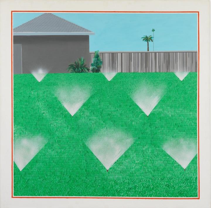 A Lawn Being Sprinkled by David Hockney