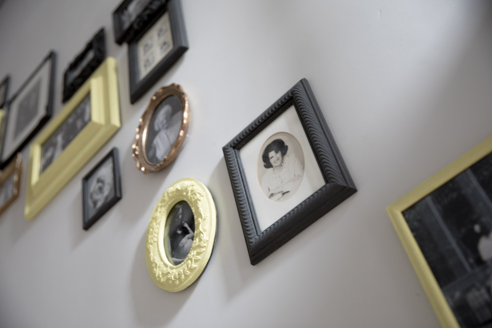 Gold, grey and yellow gallery wall