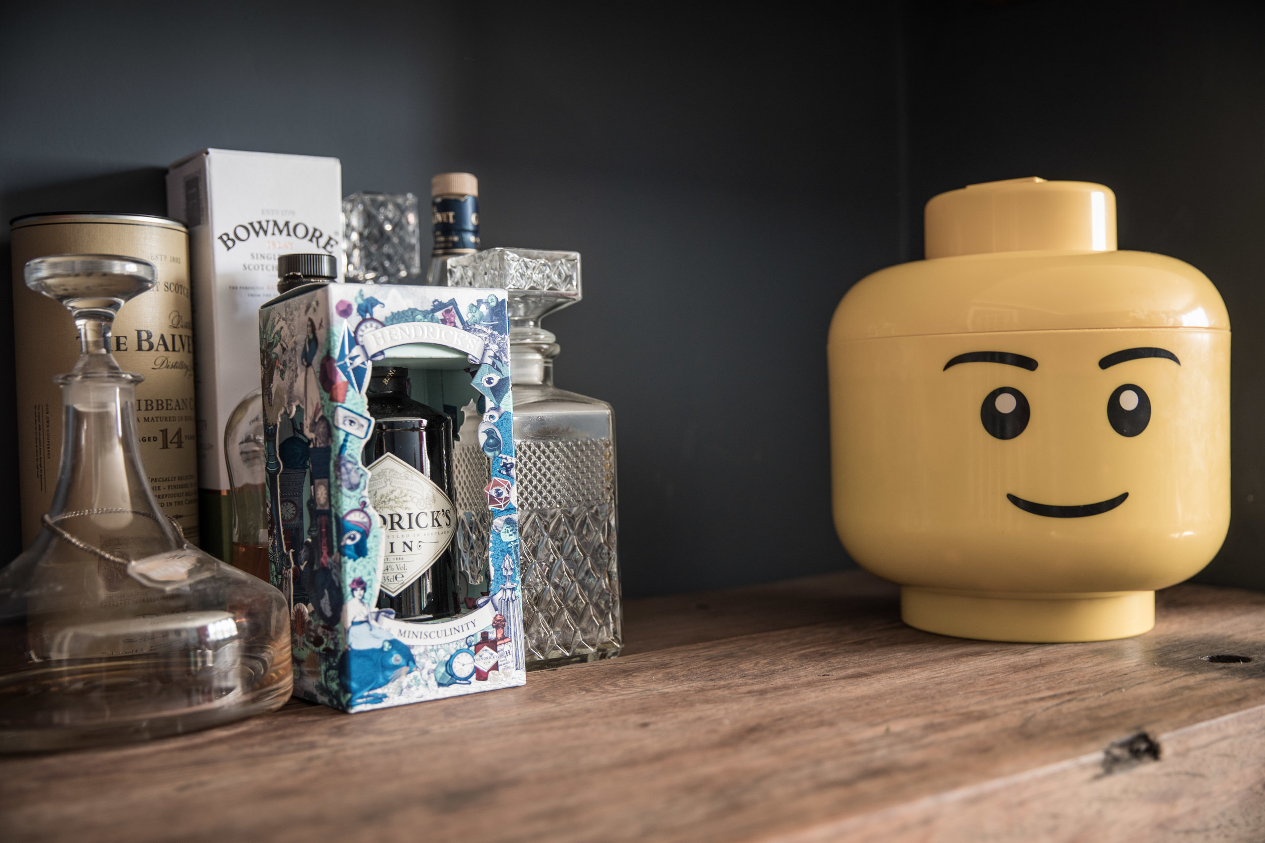 Lego head and cocktail ingredients