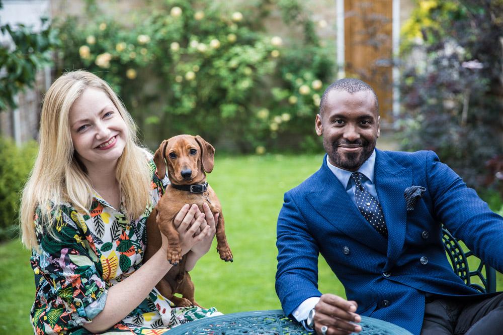Julian, Miranda and Bertie in the garden