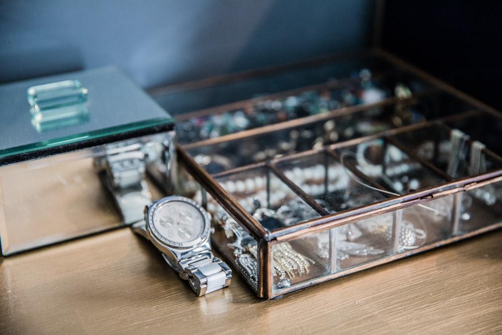 Jewellery storage in walk-in wardrobe