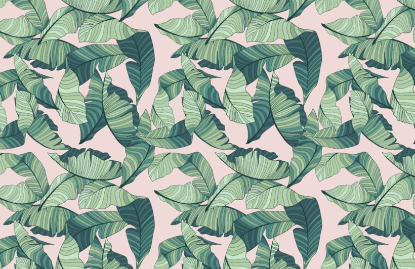 Pink and green tropical wallpaper
