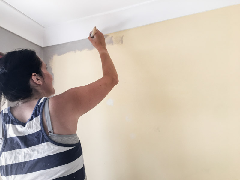 Me going freehand with the brush at the coving without masking tape!