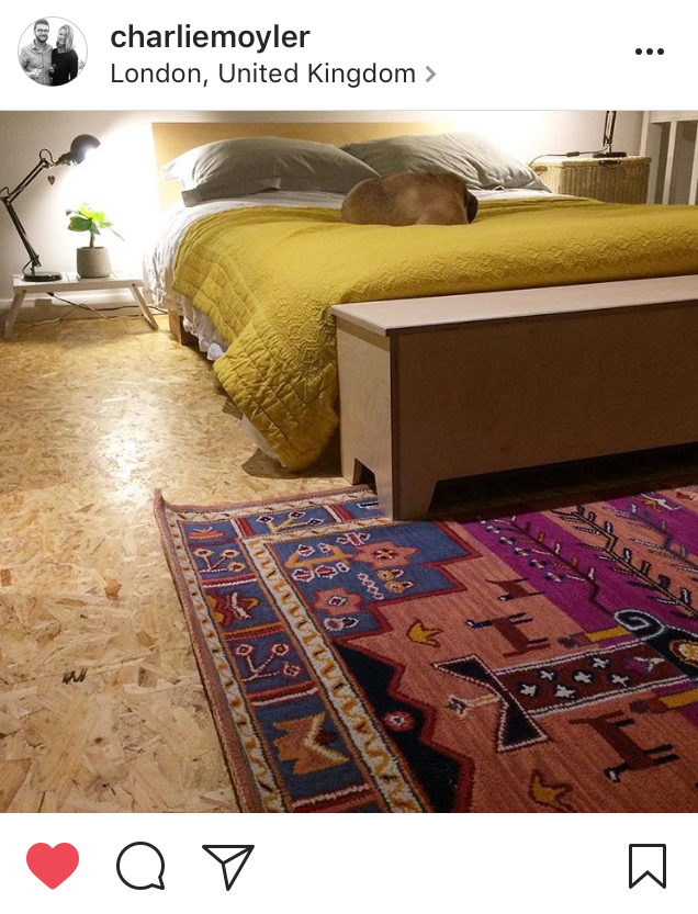 OSB floor and colourful pink rug in a bedroom