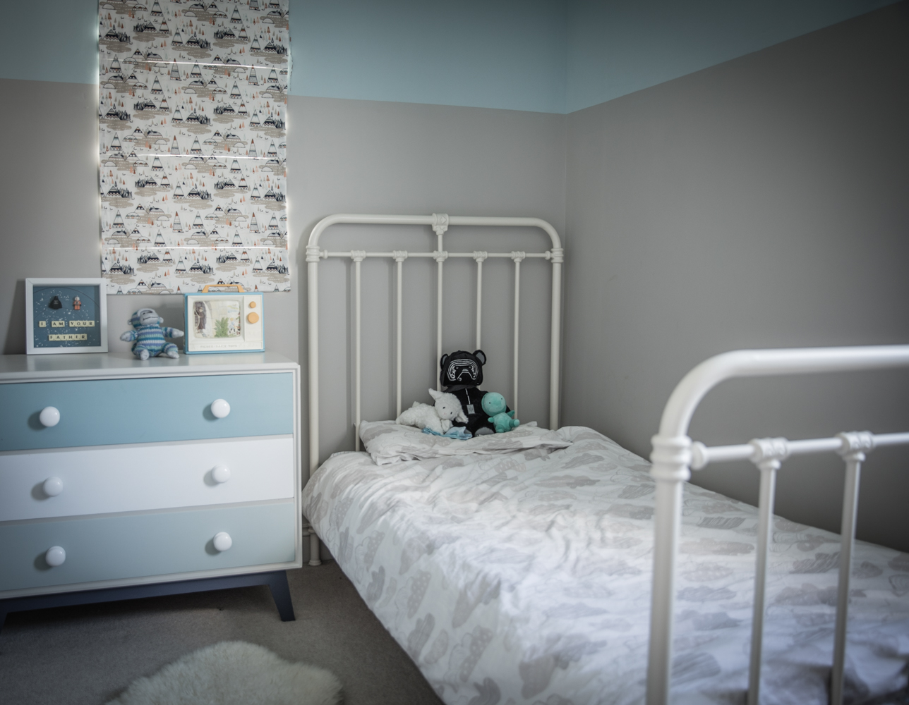 Turquoise and grey kids bedroom