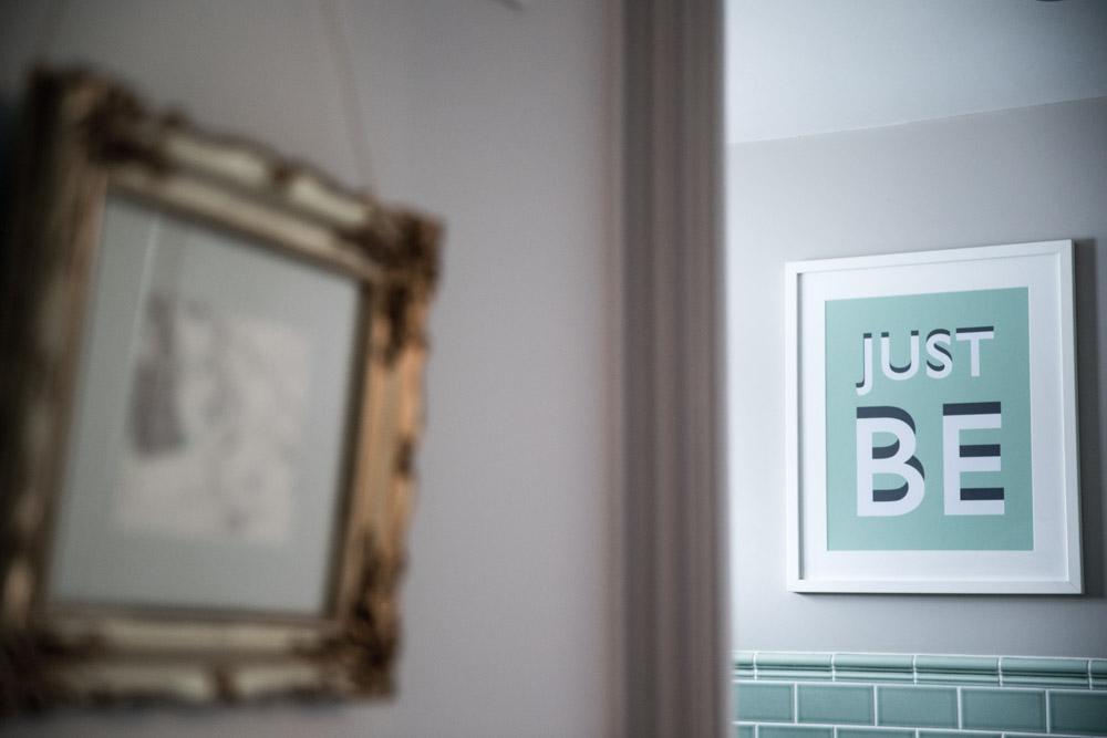 Just Be  Artwork Mint green bathroom