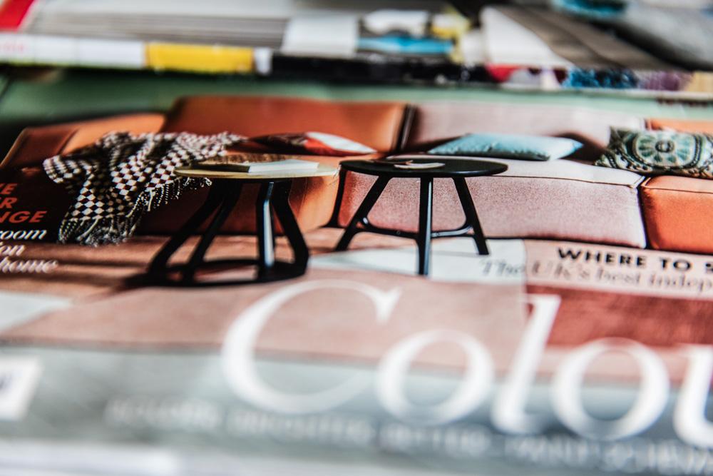 Colourful interior design magazines