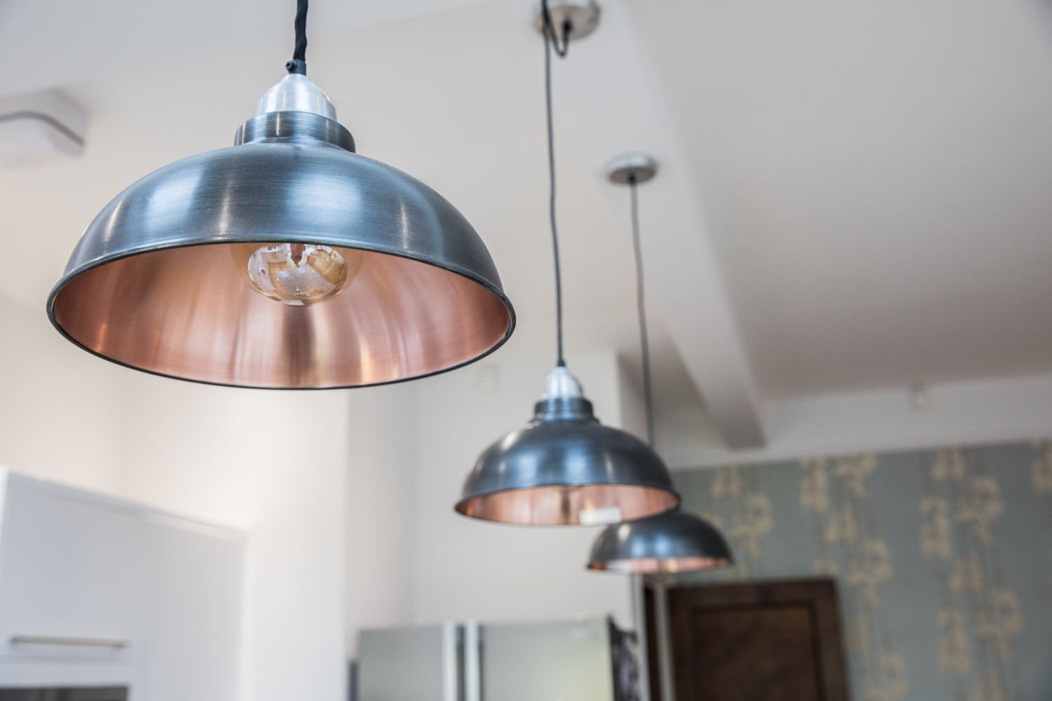 Nancy's kitchen with the 12 inch Old Factory Pendants