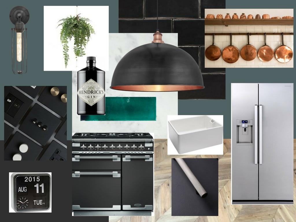 Dark green industrial kitchen ideas