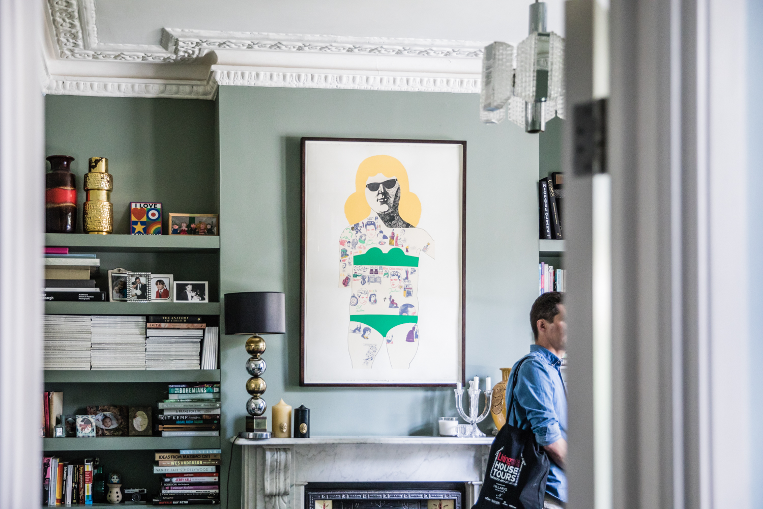 Walls painted in  Card Room Green  by Farrow and Ball