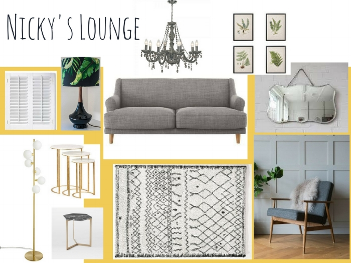A concept board for a client's small living room. Using yellow is a great trick to make a room feel brighter!