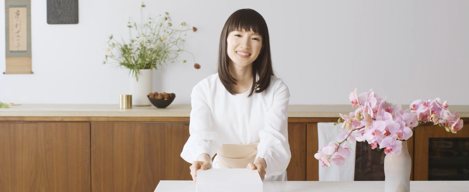 Screen shot from of Marie Kondo. She is undeniably likeable!