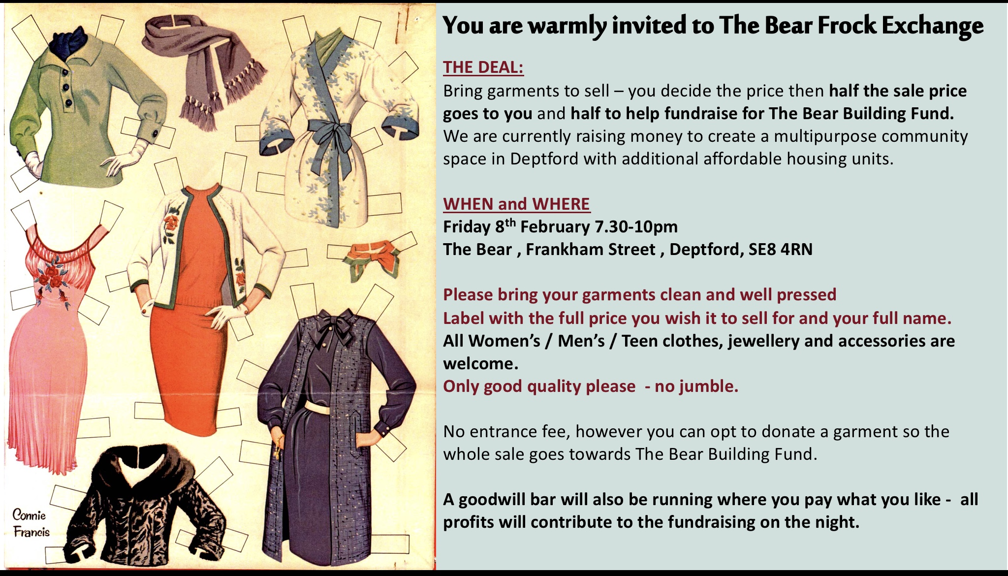 Clothes Swap night at The Bear Deptford