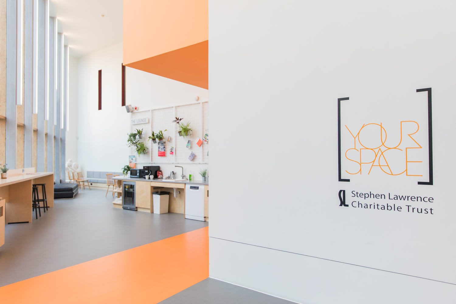 Great use of this neon orange in a local co-working space in Deptford. This colour is very energising!
