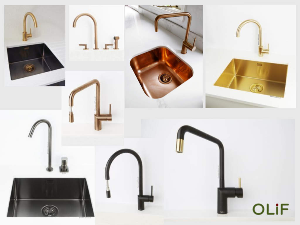 Olif sink and tap options - copper, gold, black anthracite