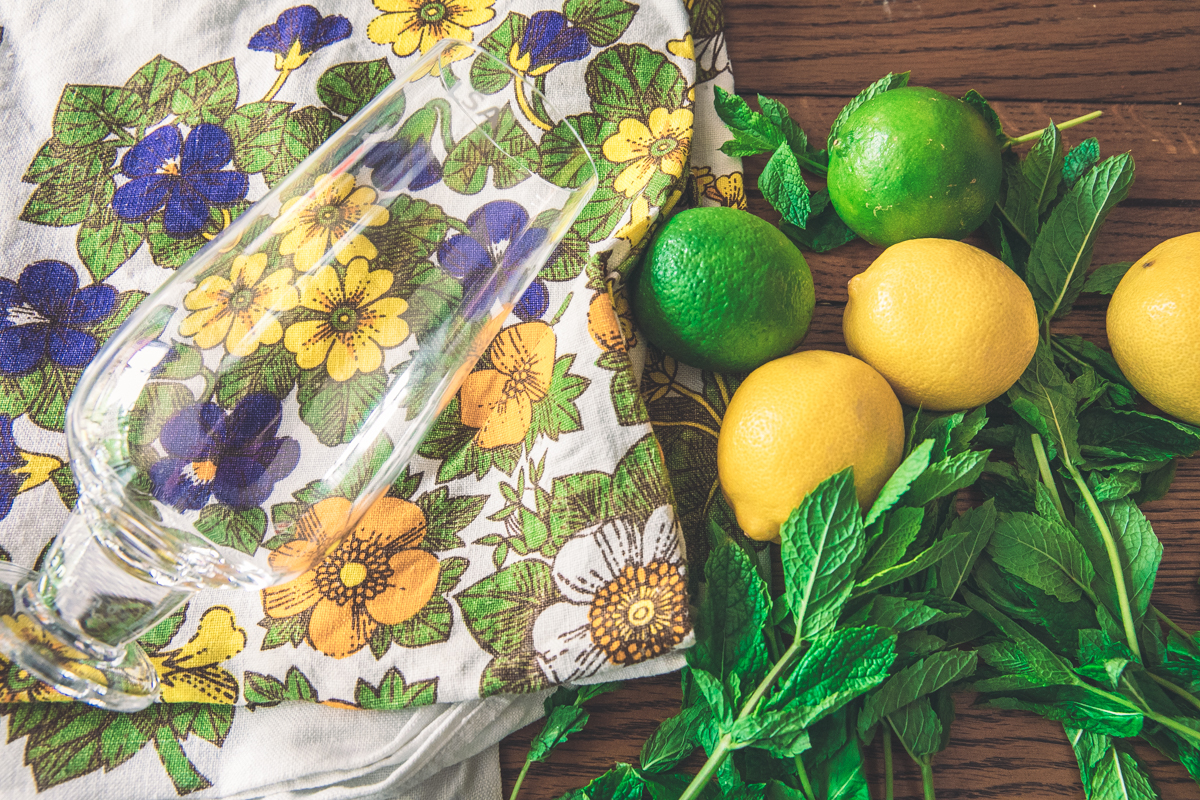 My Gran's old tablecloth being the perfect colour palette for the essential mojito ingredients (She'd be 110 today if she was still alive!)