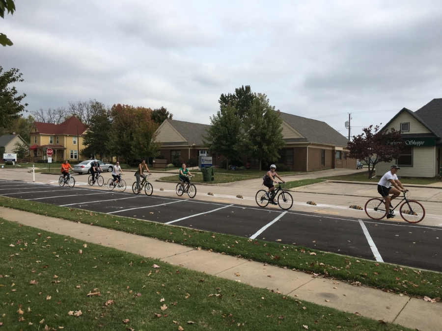 Cyclists taking advantage of new bike infrastructure in Rogers.