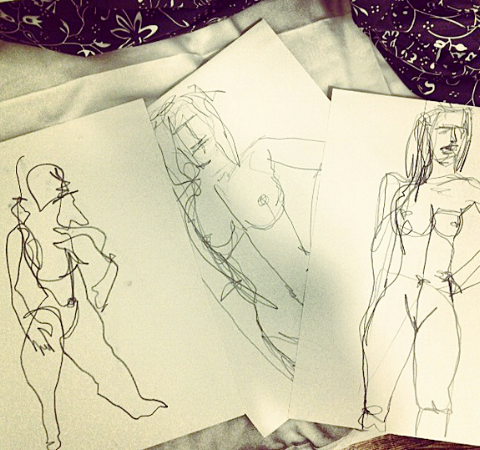 Life Drawing (2013)   Medium: Pen, charcoal, pencil