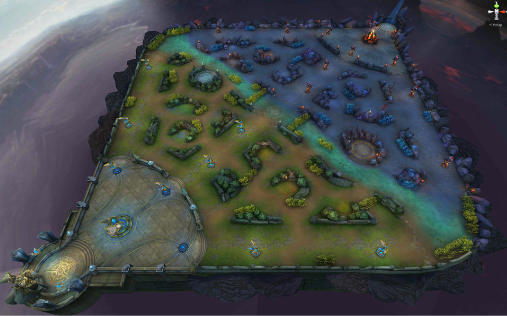 """In 5 on 5 mode, battles take place over a 3 lane battlefield with a central """"Jungle"""" area. Between a team, it's important to have a balance between attacking each lane and defending key areas from combined enemy pushes."""
