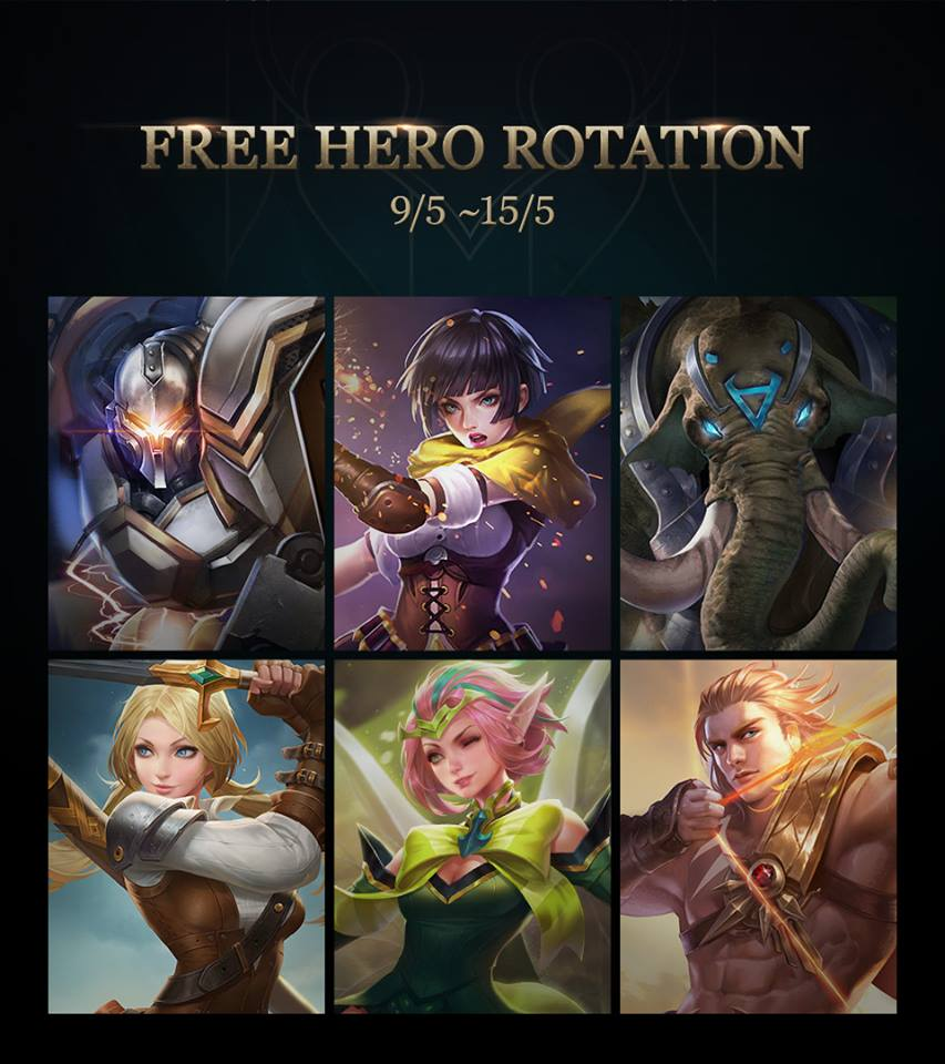 Every week, Arena of Valor has up to 6 heroes available to try and play with for free.