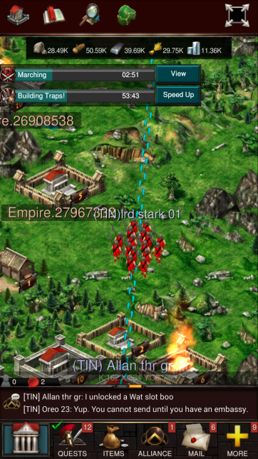 An army is marching towards an enemy city to attack it. 2:51 remain until the army reaches it's destination. The amount of time it takes to reach a target is a huge part of gameplay and balance in Game of War and mobile 4X games