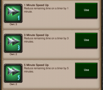Speed-Ups are available in GoW ranging from a very short period of time all the way up to days. This helps balance the session design between short and long sessions as well as benefiting the reward loop and monetisation opportunities.