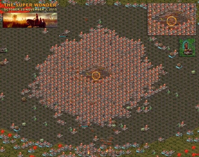 A screenshot from Snow_1021 showing the battle for the Kingdom of Fire Super Wonder last year. Look how many players are battling it out for this one!