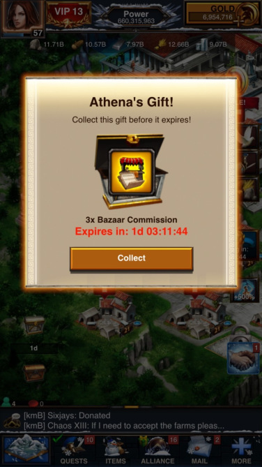 Gifting to and from Alliance Members is a huge part of Game of War