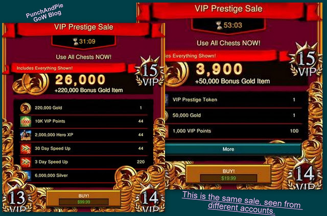 A comparison of the same offer viewed from different accounts taken from PunchAndPie's Game of War blog.