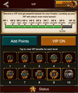 Game of War has a casino-game style VIP system to encourage you to keep spending lots of money.